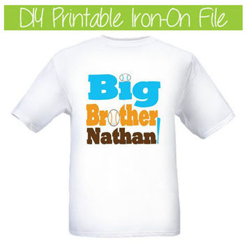 T-Shirt or Onesuit Iron-on Transfer Custom & Personalized Big Brother Brother DIY