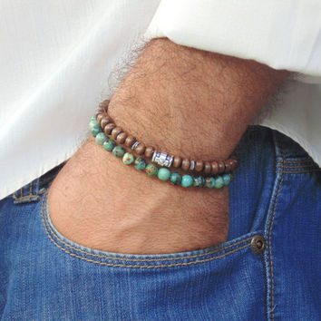 Mens Bracelet Set , African Turquoise and Wood 6mm Beads,  Stretch,  Free Shipping,  Beaded Bracelet for man