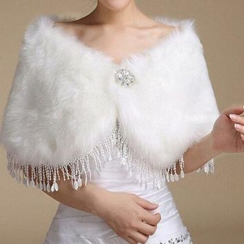 DCCKIX3 Wedding dress Wrap Ivory Fake fur shawl Bride stole Bridesmaid Cloak Boleros Women's Shrug Winter coat Jacket Cape tassels Warm = 1929823876