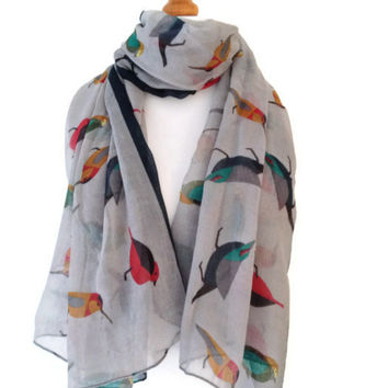 Grey bird Print Scarf Ladies Large Bird Finch pattern Scarf Sarong in yellow red teal blue New Animal Print Wrap shawl soft fabric Pashmina