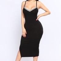 Game 7 Ribbed Dress - Black