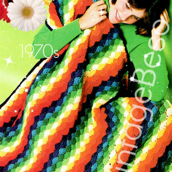 EASY Rainbow Afghan CROCHET PATTERN 1970s Retro Crochet Pattern Lap Afghan Blanket Cover Bedspread Instant Download PdF Pattern