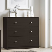 Modern 3-Drawer Chest Bedroom Bureau in Dark Brown Wood Finish