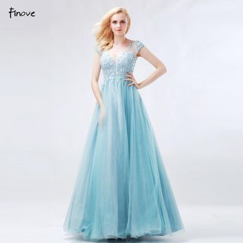 Princess Prom Dresses New Arrival Blue Ball Gowns V-Neck Beaded Tulle Patry Flower Girl Dress