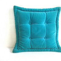 Vintage 1960s 1970s Square Blue Toss Pillow