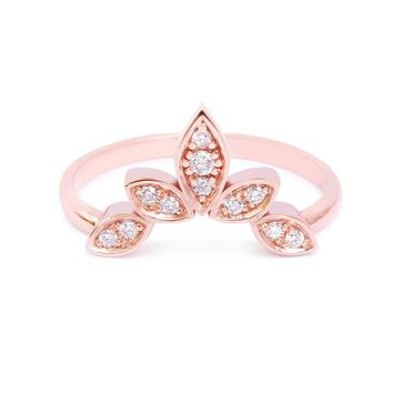 Unique Gold Ring, 5 Leaves Side Band, 14K Rose Gold Ring, Gold Ring For Women, Unique diamond wedding ring, wedding side band, diamond ring,