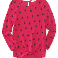 PS from Aero  Girls Long Sleeve Fox Tie-Front Top - Pink