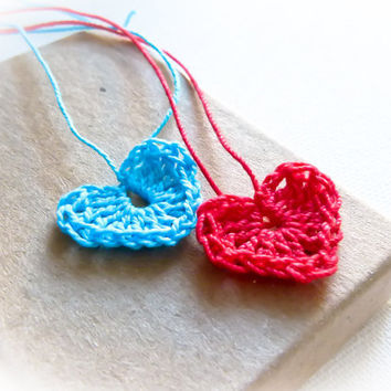 Wedding Favors  Blue red crochet hearts 10  by Mashacrochet