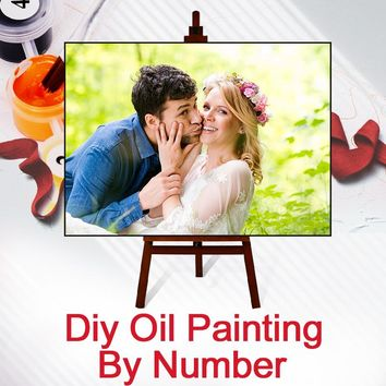 Fast Customize Wedding Family Pet Photos Paint By Numbers With Frame Private Custom Digital Oil Painting Art Coloring By Numbers