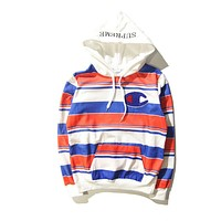 Supreme X Champion Trending Women Men Stylish Stripe Hoodie Hip-Hop Cotton Sweater Top Sweatshirt I/A