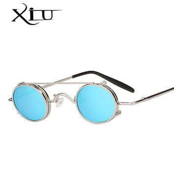 XIU Steampunk Sunglasses Men Women Oval Clip On Brand Designer Sunglasses Metal Punk 2018 NEW Glass Oculos Vintage Top Quality