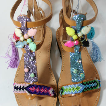 Boho sandals with glitter, pompom sandals