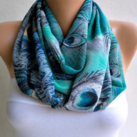 Peacock - Infinity Scarf Shawl Circle Scarf Loop Scarf  - Gift -fatwoman