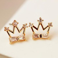 Golden Crown with Rhinestone Earrings - LilyFair Jewelry
