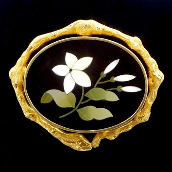 Antique PIETRA DURA PIN Brooch 14k Gold Framed Floral Pietra Dura Brooch Pin Ornate Twig Form Frame