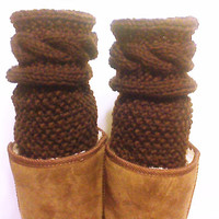 Brown Knit Legwarmers,  Boot knitted socks, cabled boot toppers, Boot accessories, boot knee socks, chunky boot knits