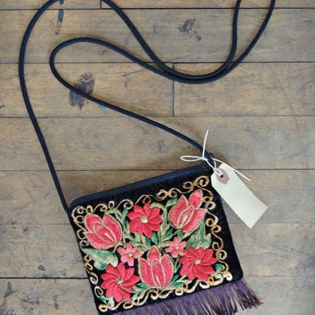 Floral Crossbody Bag / Fringe Bag / Embroidered Bag /  Bohemian Bag / Velvet Bag / Needlepoint Bag / Boho Chic Bag / Victorian Bag / Gypsy