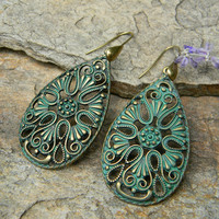 Dangle earrings bohemian jewelry teardrop filigree large earrings unique summer fashion