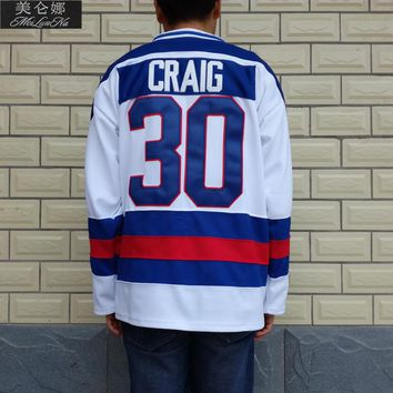 1980 Miracle On Ice Team USA #30 Jim Craig White Hockey Jersey 3002