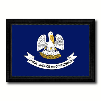 Louisiana State Flag Canvas Print with Custom Black Picture Frame Home Decor Wall Art Decoration Gifts
