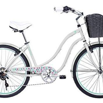 Gama Bikes Boardwalk 26-Inch Crayon Step Thru 6 Speed Shimano Cruiser Bicycle, 17-Inch, Grey