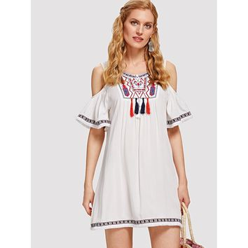 White Embroidered Yoke Fringe Tape Detail Cold Shoulder Dress