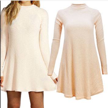Cream Knit Flare Sweater Dress