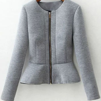 Grey Peplum Jacket