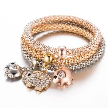 3Pcs Elephant Wrap Charm Bracelet Gold Filled Fish Star Crystal Bangles Silver Bracelets for Women Jewelry Elastic Charm Gifts