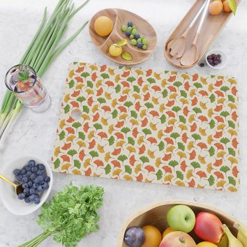 Fall ginkgo biloba leaves pattern Cutting Board by savousepate