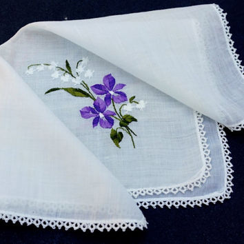 Vintage Hanky, Embroidered Hanky,Tatted Lace Hanky,White Handkerchief,Purple Flowers,Wedding Favor,Bridesmaid Gift,Flower Girl,No Ugly Tears