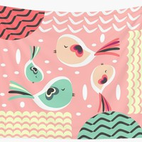 'Funny birds in pink and blue' Wall Tapestry by cocodes
