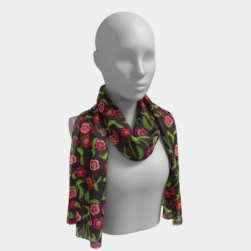 Red Poppies Long Scarf