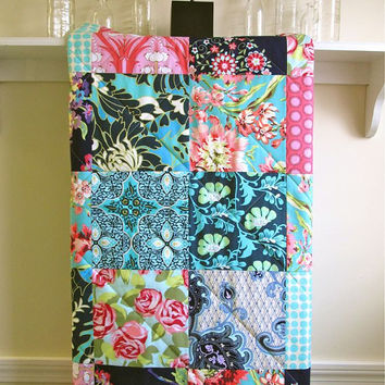Modern Baby Girl Quilt -  Bliss Bouquet - Minky Back, Toddler Quilt, Girl Crib Quilt, Navy, Pink, Aqua, Bohemian, Boho, Baby Bedding