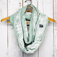 Okapi Infinity Scarf - Sea foam - printed jersey circle scarf - by Bark Decor