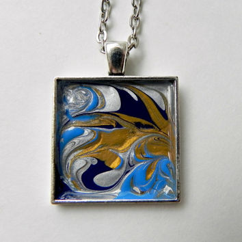 "Pendant Hand Painted Necklace ABSTRACT ART Antique Silver 25 mm with 24"" Rolo Chain Necklace"