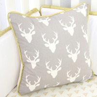 Woodlands Deer Baby Bedding | Mint and White Square Pillows