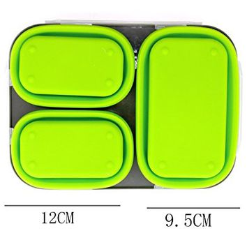 ReaLegend Bento Box Lunch Box Collapsible BPA-Free Lunch Bento Box with 3 Compartments and Cutlery Food Container - Green