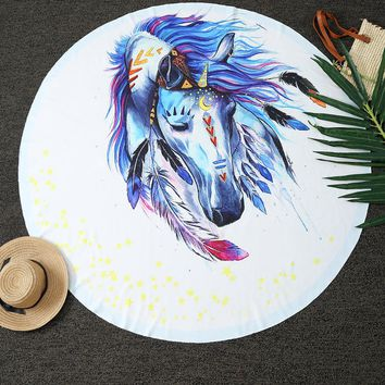 Home Decor Dreamlike Horse Print Round Throw Blanket