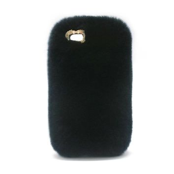 Classic Luxury Design Cute Rabbit Fur Phone Case Fashionable Fluffy Warm Mobile Phone Protective Case Cover Suitable for iPhone