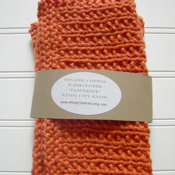 Organic Cotton Wash Cloth Set Tangerine by WindyCityKnits on Etsy