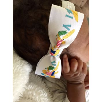 Caribbean flag bow tie headband