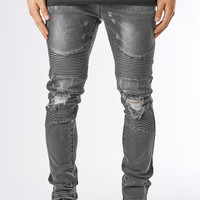 JN151 Ripped Stone Wash Biker Denim - Black