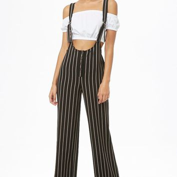 Striped D-Ring Pinafore Jumpsuit