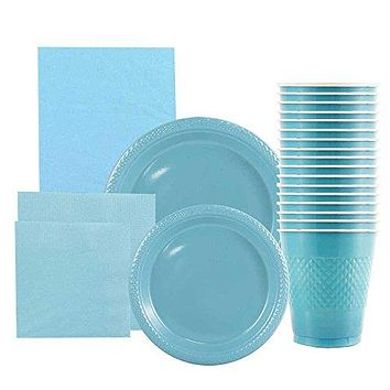 JAM Paper Party Supply Assortment Pack - Sea Blue - Plates (2 Sizes), Napkins (2 Sizes), Cups (1 pack) & Tablecloth (1 pack) - 6/pack