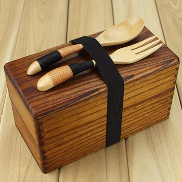 Wooden Food Box Japanese Traditional Natural Wooden Square Double Layer Women's Men's Wood Bento Box Lunch Picnic Sushi