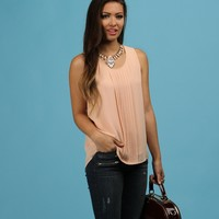 Promo-pink Prim And Pleated Blouse