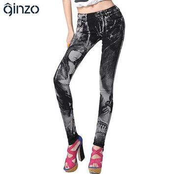 ESBU3C Women's print jeans rhinestone sexy beauty painted pattern denim long trousers  slim skinny pencil pants