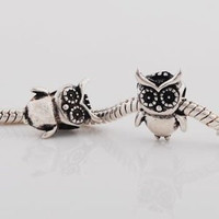 European Charm Metal Bead Owl