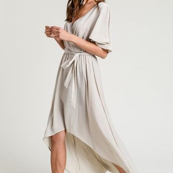 Solid Wrap Maxi Dress - Taupe